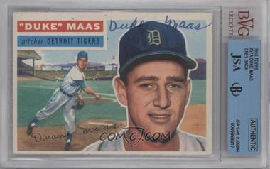 1956 Topps #57.1 - Duke Maas (Gray Back) [BVG/JSACertifiedAuto]