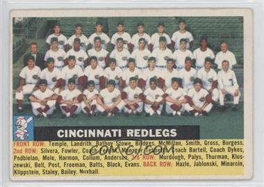 1956 Topps #90.1 - Cincinnati Redlegs Team (Gray Back, Team Name Centered)