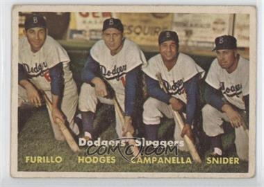 1957 Topps #400 - Dodgers' Sluggers (Furillo, Hodges, Campanella, Snider) [Good to VG‑EX]