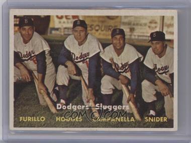 1957 Topps #400 - Dodgers' Sluggers (Furillo, Hodges, Campanella, Snider)
