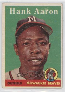 1958 Topps #30.1 - Hank Aaron (player name in white) [Good to VG‑EX]