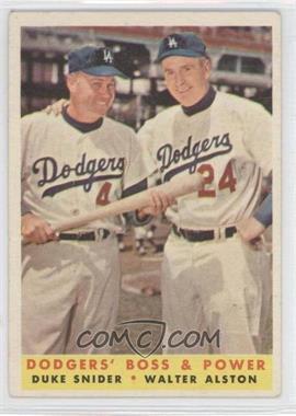 1958 Topps #314 - Dodgers' Boss & Power (Duke Snider, Walter Alston)
