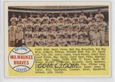 1958 Topps #377 - Milwaukee Braves Team