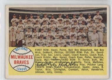 1958 Topps #377.1 - Milwaukee Braves Team (Alphebetical Checklist)