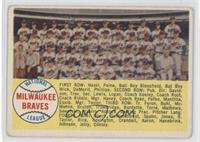 Milwaukee Braves Team (alphebetical checklist) [Poor to Fair]