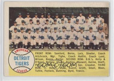 1958 Topps #397.1 - Checklist (Detroit Tigers Team) (alphebetical checklist)