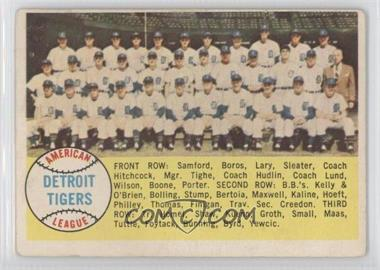 1958 Topps #397.1 - Checklist (Detroit Tigers Team) (alphebetical checklist)