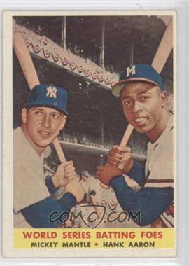 1958 Topps #418 - World Series Batting Foes (Mickey Mantle, Hank Aaron)