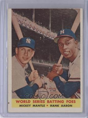 1958 Topps #418 - World Series Batting Foes (Mickey Mantle, Hank Aaron)