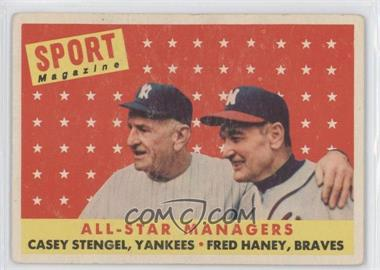 1958 Topps #475 - All-Star Managers (Casey Stengel, Fred Haney)