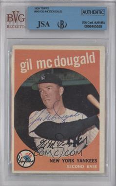 1959 Topps - [Base] #345 - Gil McDougald [BVG/JSACertifiedAuto]