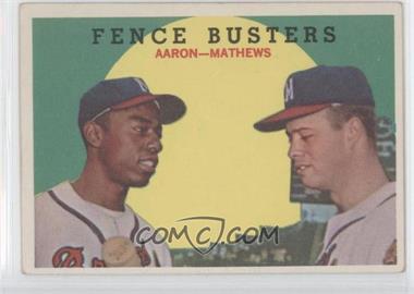 1959 Topps #212 - Fence Busters (Hank Aaron, Eddie Mathews)
