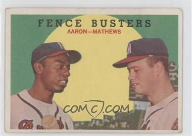 1959 Topps #212.1 - Fence Busters (Hank Aaron, Eddie Mathews) (Grey Back) [Good to VG‑EX]