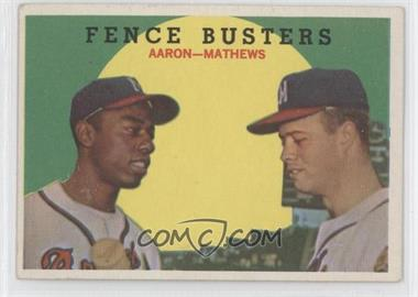 1959 Topps #212.1 - Fence Busters (Hank Aaron, Eddie Mathews) (Grey Back)