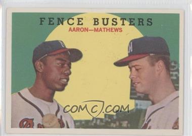 1959 Topps #212.2 - Fence Busters (Hank Aaron, Eddie Mathews) (White Back)