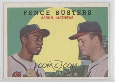 1959 Topps #212GB - Fence Busters (Hank Aaron, Eddie Mathews) (Grey Back)