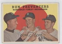 Run Preventers (Gil McDougald, Bob Turley, Bobby Richardson) (grey back) [Good&…