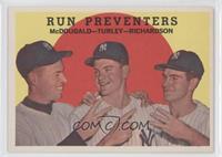 Run Preventers (Gil McDougald, Bob Turley, Bobby Richardson) (white back)