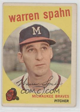"1959 Topps #40.2 - Warren Spahn (Error: Born 1931, ""3"" Partially Obscured)"