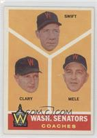 Washington Senators Coaches (Bob Swift, Ellis Clary, Sam Mele)