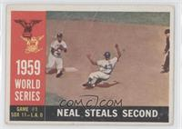 World Series Game #1: Neal Steals Second (Charlie Neal) (White Back) [Good&nbsp…