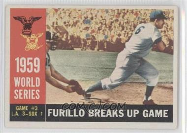 1960 Topps #387.1 - World Series Game #3: Furillo Breaks Up Game (Carl Furillo) (White Back)