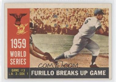 1960 Topps #387.2 - World Series Game #3: Furillo Breaks Up Game (Carl Furillo) (Gray Back)