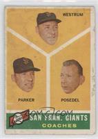 San Francisco Giants Coaches (Wes Westrum, Salty Parker, Bill Posedel) [Poor]