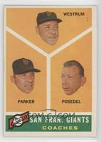 San Francisco Giants Coaches, Wes Westrum, Salty Parker, Bill Posedel