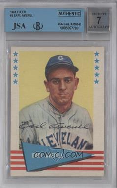 1961 Fleer Baseball Greats #5 - Earl Averill [BVG/JSACertifiedAuto]