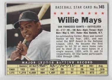 1961 Post Cereal - [Base] #145.1 - Willie Mays (Hand Cut) [Authentic]