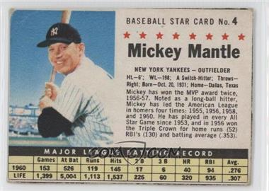 1961 Post Cereal #4 - Mickey Mantle