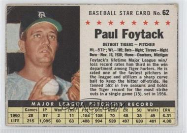 1961 Post Cereal #62 - Paul Foytack