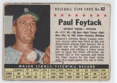 1961 Post Cereal #62.1 - Paul Foytack (Hand Cut)