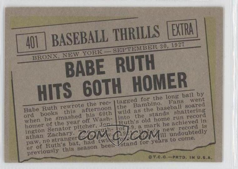 Babe Ruth Baseball Card Front And Back
