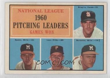 1961 Topps #47 - National League Pitching Leaders (Ernie Broglio, Warren Spahn, Vern Law, Lou Burdette)