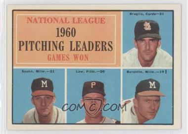1961 Topps #47 - National League Pitching Leaders (Ernie Broglio, Warren Spahn, Vern Law, Lou Burdette)
