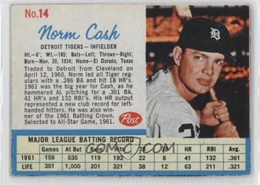 1962 Post - [Base] #14.1 - Norm Cash (Throws right)