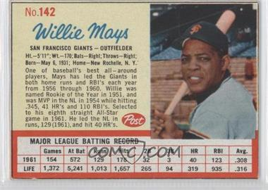 1962 Post - [Base] #142 - Willie Mays