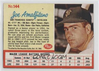 1962 Post - [Base] #144 - Joey Amalfitano