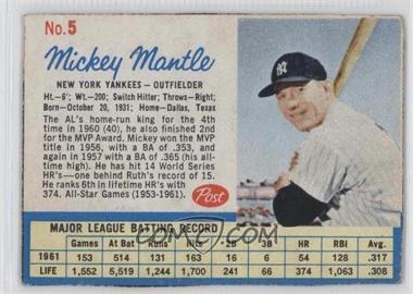 1962 Post - [Base] #5 - Mickey Mantle [GoodtoVG‑EX]