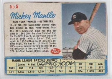 1962 Post - [Base] #5 - Mickey Mantle [Good to VG‑EX]