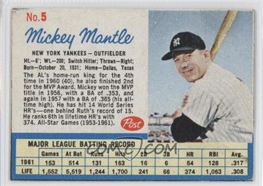 1962 Post - [Base] #5 - Mickey Mantle