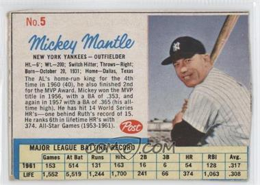 1962 Post - [Base] #5 - Mickey Mantle [Authentic]