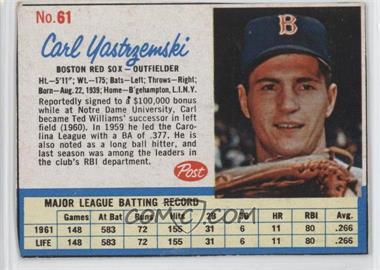 1962 Post - [Base] #61 - Carl Yastrzemski