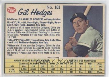 1962 Post Canadian - [Base] #101 - Gil Hodges