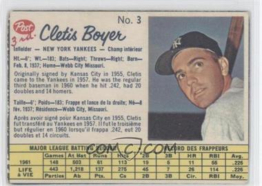 1962 Post Canadian - [Base] #3 - Clete Boyer