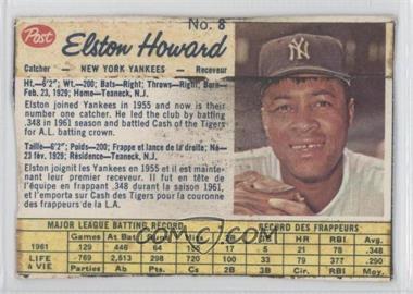 1962 Post Canadian - [Base] #8 - Elston Howard