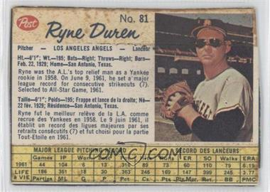 1962 Post Canadian - [Base] #81 - Ryne Duren