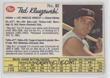 1962 Post Canadian - [Base] #82 - Ted Kluszewski